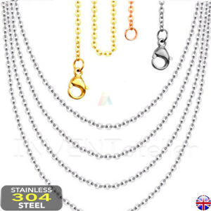 """18""""-24"""" Stainless Steel Cross Oval Chains Necklace Mens Womens  1.5-2mm _621"""