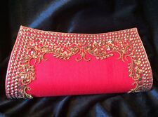Red Antique Gold Handbag Clutch Wallet Bollywood Indian Dress Purse Art Silk