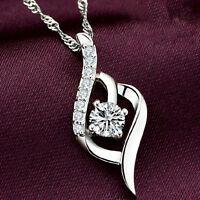 Damen Twisted Silber Kristall Rhinestone 8-Form Anhänger Halskette Kette Gift