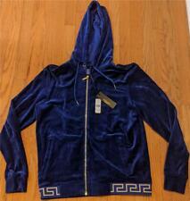 $995 Mens VERSACE Velour Signature Waistband Track Jacket Blue 3 (Extra Small)
