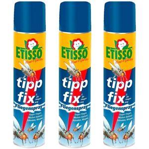 Etisso tipp fix Fliegenspray 3 x 400 ml Sparpack Mückenspray Schnaken Wespen
