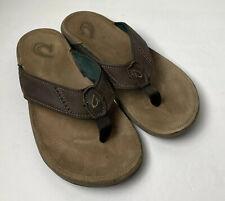 Olukai Mens Leather Nui Sandels Brown 10