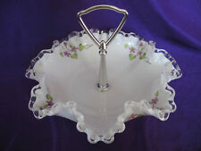 SIGNED Fenton Milk Glass Silvercrest Ruffled Bowl Candy Dish with Violet Flowers