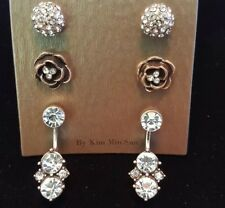 Bronze Toned Crystal Stud Earrings flowers set of three