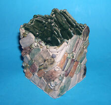 Judy Adams Studio Art Pottery - Designer Square Pot Pretty Stone & Bead Effect.