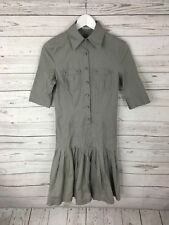 TED BAKER Shirt Dress - Size 1 UK8 - Grey - Great Condition