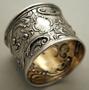 NAPKIN RING, .800 silver, Germany, Franz Mosgau, Berlin, Rococo florals, c1890