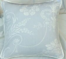 """Laura Ashley Josette seaspray    Fabric Cushion Cover Piped 16"""" piped  Of White"""