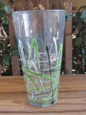 "Crate & Barrel~Strata~Black-Green-White~Splatter~11¾"" Vase"