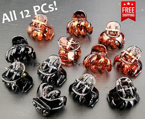 12 PCs Hair Clip - All 12 PCs, Black & Brown Small Size Hair clips *US SELLER*