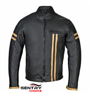 Motorcycle Riding Leather Jacket Motorbike Bikers Cafe Racer Black Gear Armored