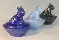 Boyd Art Glass Set Of Three Carnival Scottie Dog Covered Salts