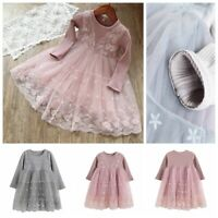 Girls Kid Princess Dress Spring Long Sleeves Lace Floral Embroidered Tutu Skirts