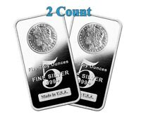 Lot of 2 - 5 oz .999 Fine Silver Bars Morgan Dollar Design 10 oz total