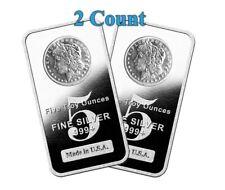 Lot of 2 - 5 oz .999 Fine Silver Bars Morgan Dollar Design 10 oz total