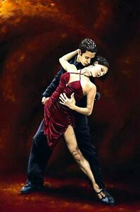 The Passion of Tango - Signed Fine Art Giclée Print. Figurative dancers painting