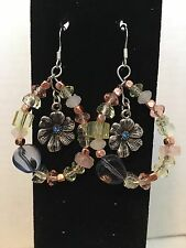 Hoop, Hand crafted, Floral, Beaded Fashion Earrings