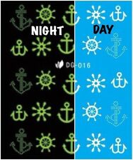 Nail Art Water Decals Glow in the Dark Night Time Natuical Anchors DG016