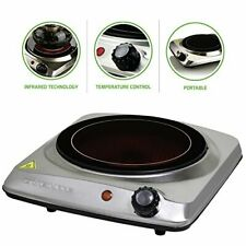 Ovente Electric Glass Infrared Burner 7 Inch Single Hot Plate 1000 Watt