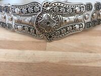 Rare Vintage Boho White Leather And Metal Adjustable Clip Belt. Immaculate Cond.