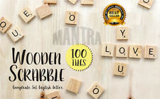 NEW 100 WOODEN SCRABBLE TILES BLACK LETTERS NUMBERS FOR CRAFTS WOOD ALPHABETS