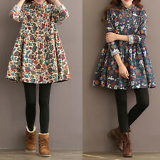 New Womens Casual Vintage Long Sleeve Floral Print Baggy Loose Mini Shirt Dress