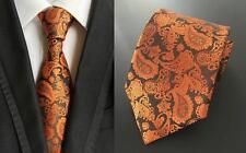 Orange and Black Paisley Patterned Handmade 100% Silk Tie