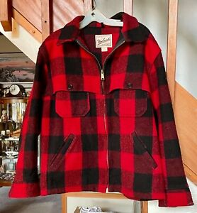 Woolrich Men Vintage Buffalo Red Check Plaid Wool Hunting Jacket Shirt Large