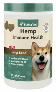 NaturVet Immune Health HEMP Soft Chews 60 Count (Jar) for Dogs