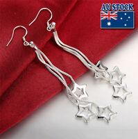 Wholesale 925 Sterling Silver Filled Long Lovely Star Dangle Earrings Party