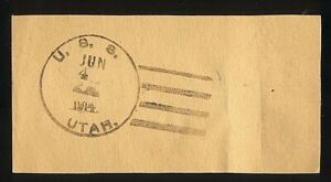 USS UTAH BB-31 - @ VERA CRUZ MEXICO - 1914 - POSTAL FACING SLIP