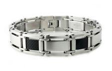 """Stainless Steel Men's Carbon Fiber Mutli-Link Bracelet 8.5"""""""