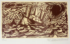 Lovely Woodblock Print. Framed, Signed, Numbered 41/60 Limited Edition 10x14""