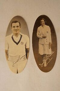 Collectable-Vintage-1935-Scarce Carreras Oval Cards -Tennis -FJ Perry - D.Round