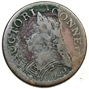 1787 6.1-M Laughing Head Connecticut Colonial Copper Coin