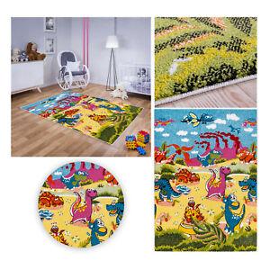 Kinderteppich Spielteppich Babyteppich Mädchen Jungen Dinosaurier Urwelt bunt