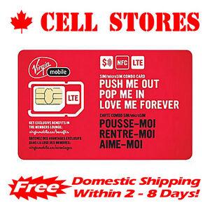 New Virgin Mobile CANADA 4G LTE Sim Card - Nano Micro Standard 3 in 1 Combo