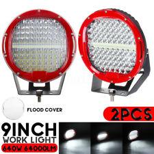 2Pcs 9 Inch 640W Round Work Light LED Spot Flood Offroad  Marine