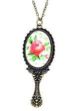 vintage retrò stile bronzo specchio con rosa patter collana con ciondolo
