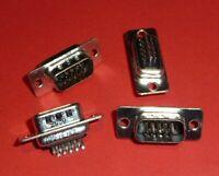 4x Amphenol SUB D 15 PIN pol VGA Stecker 3 Reihen Löten PCB 717 HDE 15P Qualität
