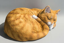 Orange Tabby Cat Memorial Statue Sleeping Pet Figurine Grave Ornaments Outdoor