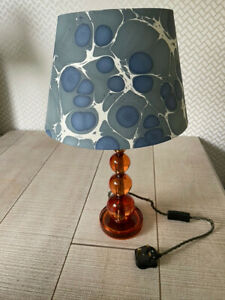 Pooky lighting Aurora Orange resin lamp with marble paper blue sesia shade