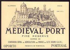 MEDIEVAL PORT WINE Vintage Litho label. Vinho do Porto PALACIO da PENA Portugal