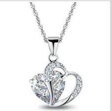 Xmas Women 18K White Gold Plated Rhinestone Crystal Heart Pendant Necklace