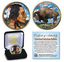 NEW 2006 COLORIZED  AMERICAN BUFFALO / INDIAN COIN with Box ~ 24K Gold Plated