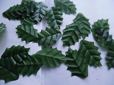 100 large HOLLY silk LEAVES/CRAFTS/DECORATION/WEDDING/FLOWERS/CHRISTMAS