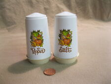 Vintage White Plastic Column Vegetable Salt and Pepper Shakers                 2