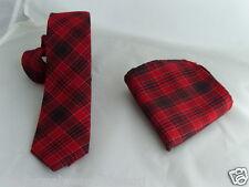 """( F ) TARTAN Red/Black/Red Mens Skinny Necktie and Hankie Set-Tie-2.5""""=6cm Width"""
