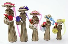 Set Of 5 Corn Dolls Dollies With Hats Each Carrying Basket of Flowers & Present