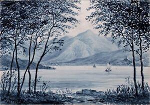 "Lago di Caldonazzo, firmato ""E.P:"" mm.188 x 268-1922 c.a.- Edgard Alwin Payne"